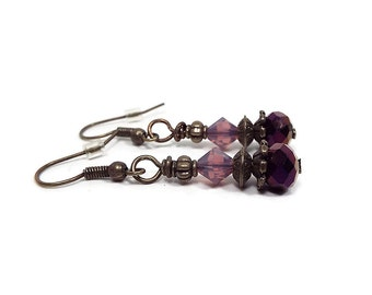 Dark Metallic Purple Earrings Antiqued Brass with Crystals Drop Dangle Beaded Womens Gift