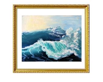 The Wave- Print on Archival Matte Paper, By Alycia D'Avino, Ballerina Art, Mermaid Painting, Underwater Art, Wall Decor, Ballet Shoe