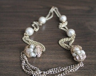 Vintage 60s Pearl Chain Necklace