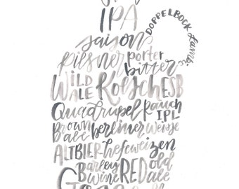 Hand Lettered Beer Styles Growler Print