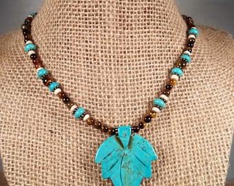 Antique Bronze Howlite Turquoise and Tiger Eye Gemstone Leaf Pendant Statement Necklace