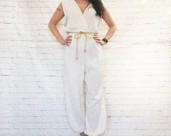 Epic Vintage 70s Grecian Harem Genie Pants Jumpsuit Cream Gold Metallic Striped NOS Deadstock Disco Surplice Wrap Belted M