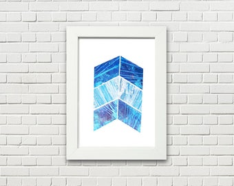 Arrow Tail / Mixed Media Collage / Abstract / Cut Paper Art / Blue / Purple / Chevron / Wall Art / Housewarming Gift / Gift / Original Art