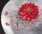 "Notecard ""Dahlia in a Crystal Bowl"" by Sandi McGuire"