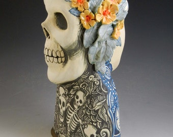 Large skull and girl sculpture vase day of the dead OOAK hand made dual faced blue and white and black and white