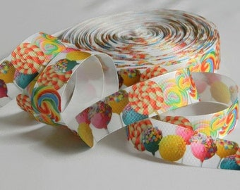 "Lollipop Ribbon 5 yards of 1"" White Grosgrain Ribbon with Swirly Rainbow Candy For Hair Bows Candy Theme Birthday Party Favor Ties Crafts"