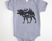 Moose Mountain Forest Baby Onesie - Screen Printed Baby One Piece - American Apparel