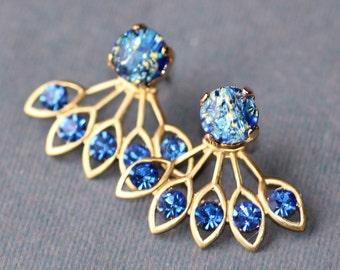 GORGEOUS Vintage Sapphire Blue Fire Opal Earring Jacket,Sapphire Royal Blue Rhinestone Earring,Stud Post,Ear Jacket,Harelquin Opal,Unique