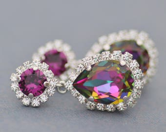 NEW Amethyst Purple Jewel Rainbow Earrings,Swarovski Rhinestone Halo Stud,Drop Earrings,Silver Halo Dangle,Unique Color,Gift For Her,Rainbow