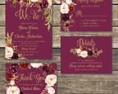 Printable Wedding Invitation - DIY Floral Watercolor Wedding - Gold / Burgundy / Marsala / Wine Rustic Wedding - Printed Wedding Invitation