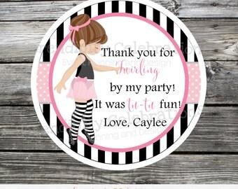Favor Tags, Ballerina Favor Tags, Ballerina Stickers, Ballet, Ballerina birthday favor tags, party favors, set of 12, black white ballerina
