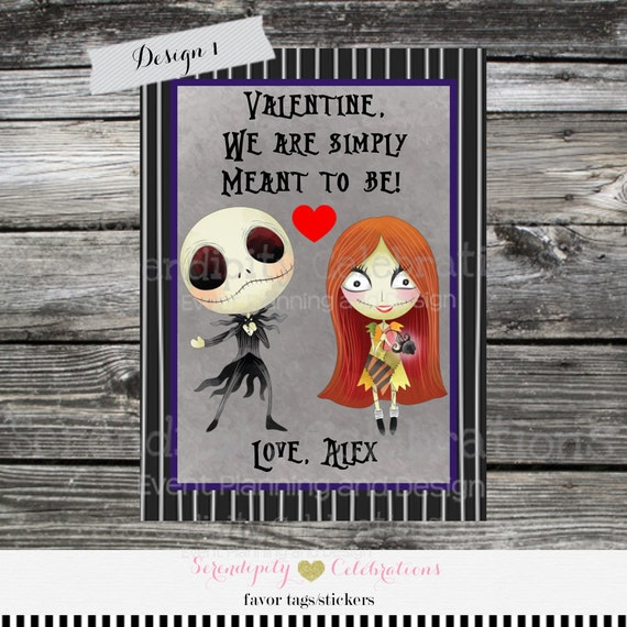 Items similar to Kids Valentine Days Cards, Nightmare Before ...