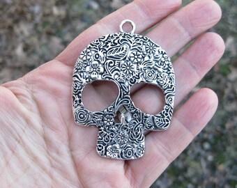 2 Large Sugar Skull Pendants in Silver Tone - C2516