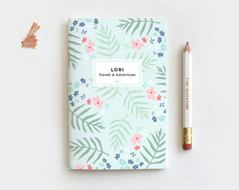Mint Floral Personalized Journal & Pencil Set, Midori Insert - Hand Drawn Illustrated Palm Leaf Floral Notebook Stocking Stuffer - 3 Sizes