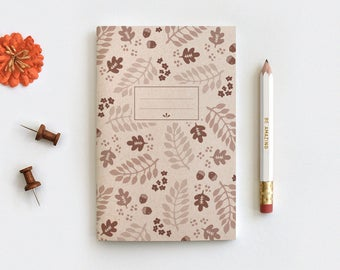 Fall Leaves Gratitude Journal & Pencil Set - Illustrated Autumn Brown Floral Recycled Notebook, 3 Sizes Midori, Blank Lined or Dot Grid