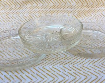 3 clear glass vintage coasters