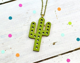 Cactus Jewellery, Green Marquee Light Necklace, Marquee Sign, Mirrored Jewellery, Nickel Free