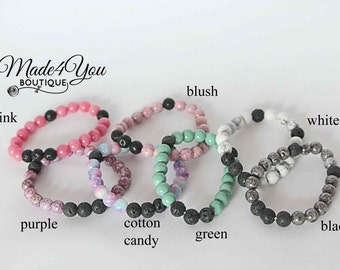 Diffuser Beaded Bracelet - Essential Oil Bracelet - Healing Bracelet - 7 Different Colors