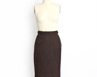Vintage 1950s Pencil Skirt - Wool Brown Chavron Slate Skirt 50s - Small