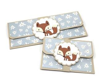 Gift card holder, gift card envelope, cash gift envelope, birthday card, fox birthday, fox envelope, fox baby shower, money envelope,