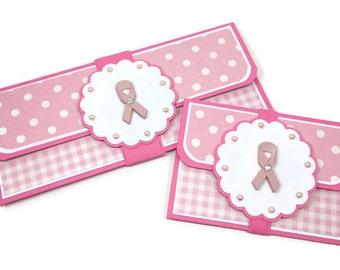 Breast cancer card, pink ribbon card, money card, money envelope, cash holder, gift card holder, gift card envelope, get well soon card