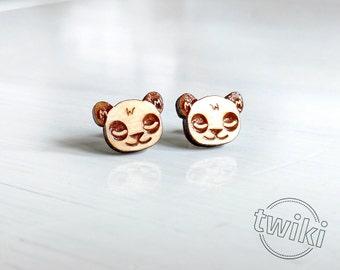 Panda wood earring studs.-- wood panda earrings, panda earring studs, panda stud earrings, HYPOALLERGENIC panda bear earring studs wood