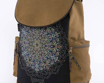 13-15-17 inch Laptop Backpack For Men And Women, Psychedelic, Mandala, Uv Glow, Computer Backpack, Canvas Backpack