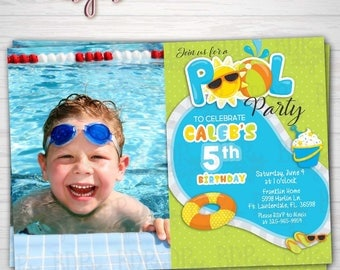 Pool Party Birthday Photo Invitation, Swimming Party, Boy Birthday, Summer Party, ANY Birthday-Customized Download OR Prints-Details Below