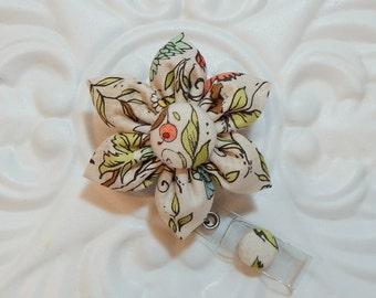 Retractable Badge Holder - Id Badge Reel - Badge Holder - Teacher Lanyard - Floral Print