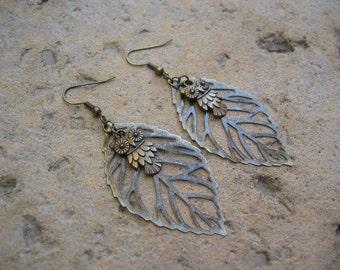 Owl Earrings - Antiqued Bronze Owl and Filigree Leaf Earrings