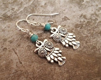 Owl Earrings - Antiqued Silver Owl Charm Turquoise Earrings - Owl Jewelry, Gift for Her, jingsbeadingworld inspired by nature spirit & love