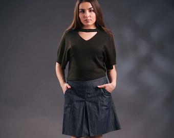 Jeans skirt, denim A-line skirt, blue gray jeans skirt, upcycled vintage skirt, skirt with pockets, original denim skirt