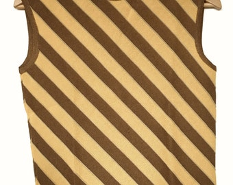Small Vintage 60s MOD Mustard Yellow and Brown Striped Sleeveless Shirt/Top Twiggy 1960's
