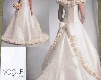Sewing Pattern Bellville Sassoon Vogue Bridal Original 1095, Wedding Dress Gown, Women Miss Size 12 14 16 Bust 34 36 38 Uncut Factory Folds