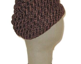 60s Turban Hat Brown Turban Style Hat 1960s Vintage Hat Womans Dress Hat Brown Bubble Hat Bubble Touque Brown Raffia Turban
