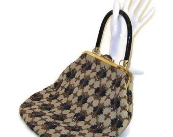 50s Beaded Purse Tapestry Beaded Bag Gold Blue Bag Blue Bronze 1950s Large Handbag Beaded Pocketbook Fabric Beaded Purse Bakelite Handle