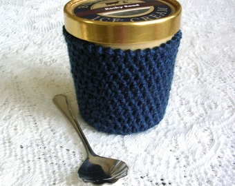 Pint Ice Cream Sleeve - Dark Blue Handmade Crochet Ice Cream Cozy - Blue Ice Cream Holder -Pint Size Cozy Cover - Housewarming Gift