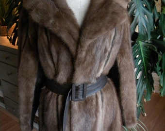 Pretty mink fur and leather stroller / coat / jacket / outerwear