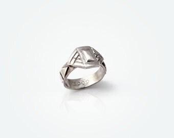 Art Deco Geometric Ring - PMC Jewelry, Silver Ring, PMC Ring, Silver Jewelry