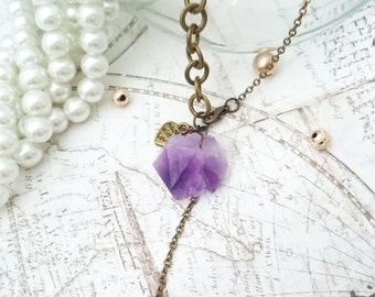 Raw Amethyst Necklace - Violet Amethyst Jewelry, Raw Crystal Necklace, Y Necklace