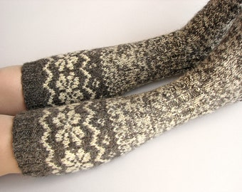 Knee Socks EU Size 35-36 - High Hand Knitted Patterned Fair Isle Socks - 100% Natural Organic Undyed Wool - Warm Autumn Winter Clothing