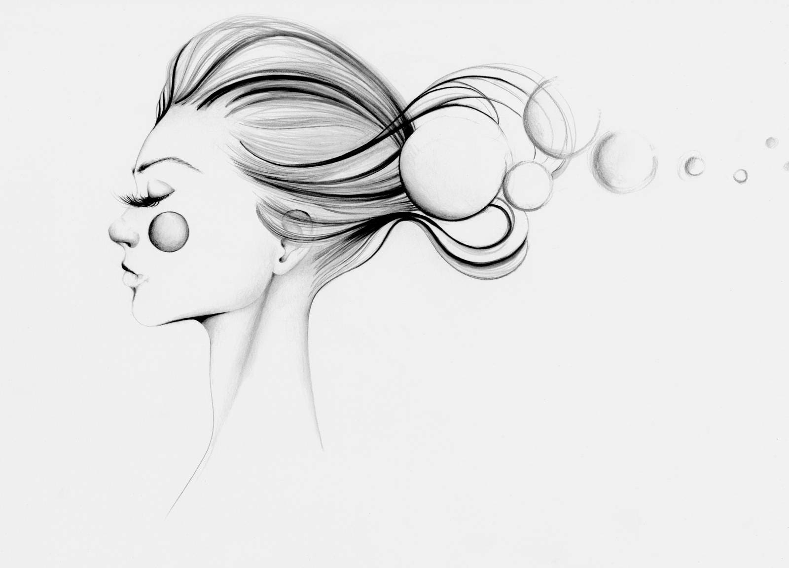 Original black and white minimalist drawing of a girl ooak for Dessin minimaliste
