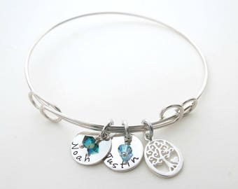 Personalized Bracelet with Birthstones - Family Tree Charm - Personlaized Bangle - Mothers Bracelet - Childs Names - Personalized Jewelry