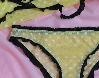Women Sleepwear & Intimates Panties Handmade Lingerie The One Layer Crotch Rouche Black Yellow Heart Panties MADE TO ORDER