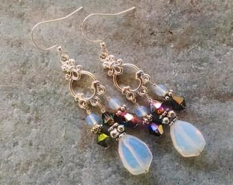 Opal chandelier earrings, Gypsy hippie silver chandelier earrings with white sea opal and dark gray crystals