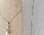 Backdrop necklace with ivory pearls and crystal spacer beads,  bridal backdrop necklace, pearl and crystal backdrop