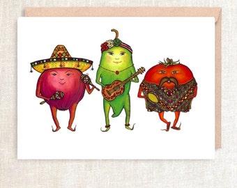 "SALSA Greeting Card - ""birthdays, so hot right now!"" - birthday card, zoolander, mariachi, spicy, salsa, green pepper, tomato card"