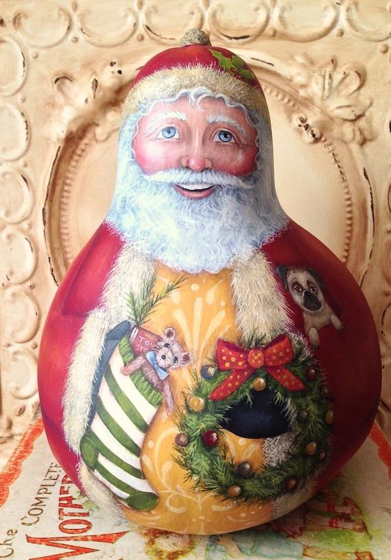Santa Folk Art Christmas Original One of a kind Hand Painted Gourd Pug dog cat Penny Grotz Hafair