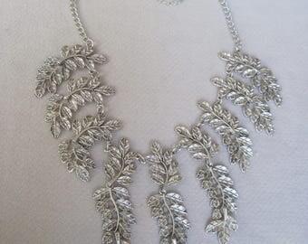 Cascading Antique Silver Spring Fern Leaf Bib Necklace