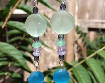 Aqua and Blue Sea Glass Earrings